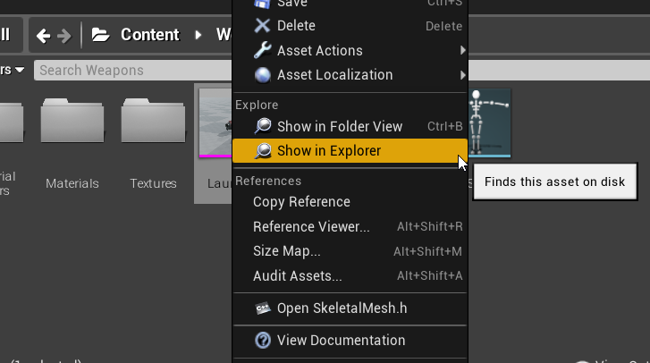 Unreal engine show in explorer menu