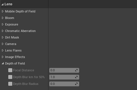 Unreal Engine 4  Lens Options
