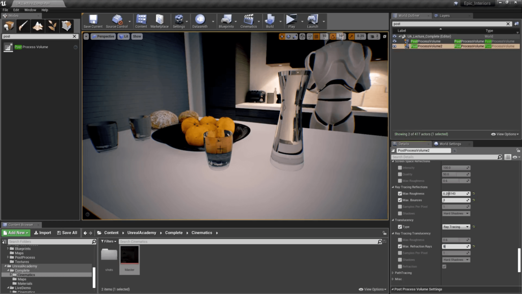 Unreal Engine 4 Cinematic Quality Post Processing - Ray Traced Transculency